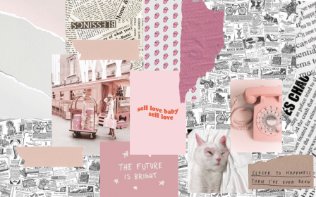 pink desktop collage laptop wallpapers aesthetic cute backgrounds macbook notebook computer print