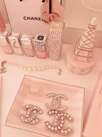 chanel pink aesthetic gold rose coco pastel boujee makeup girly hoodie uploaded user
