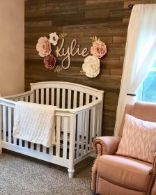 nursery wall crib decor flowers accent paper flower above wooden rose dusty frame luvlydecora roses etsy creative bedroom rooms elegant
