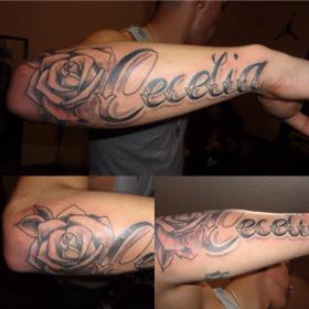 forearm tattoos tattoo names arm daughters daughter fonts father tatoos word tattos rose dad lettering letter explore font cursive styles