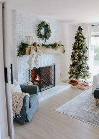 christmas gold rose farmhouse room living modern navy copper decor holiday decorations rooms 1111lightlane xmas trees