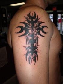 cross tribal tattoos arm tattoo upper shoulder sleeve designs half names mens thorns cool forearm right simple guys awesome left