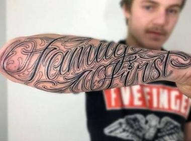 tattoos tattoo forearm commemorative arm ink fonts font familia guys script word names mannen familietatoeages sleeve devoted forearms male tribal