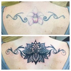tattoo tattoos lower mandala butterfly neck before tramp lotus stamp side female tribal malloy gina keene nh designs creations