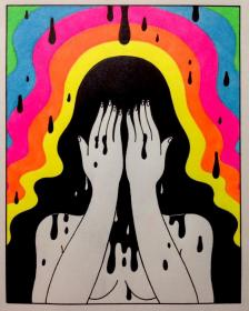trippy painting acrylic psychedelic dibujos goodnight drawings hippie alien dessin oliverhibert arte aesthetic easy paintings canvas sad cool hibert oliver