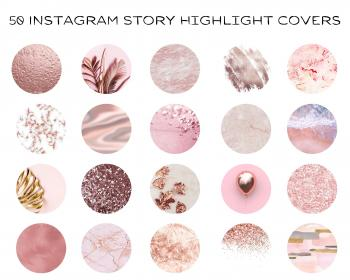 glitter icons highlight covers rose highlights story aesthetic marble social insta minimalist boho banner pastel beige