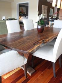 dining table modern walnut wood tables slab wooden room etsy kitchen chairs unique reclaimed natural mesa con sets jantar flagship