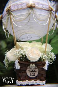 Hot Air Balloon Wedding Table Number Centerpiece // Hot
