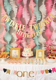 birthday party baby theme themes decoration decorations winter parties decor idea turning twinkle star celebrate gold