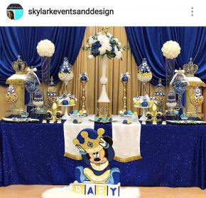 Royal Mickey Mouse Baby Shower Dessert Table and Decor
