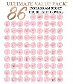 pink highlight icon instagram icons gold covers story rose insta highlights birthday pack sold etsy very palm tree