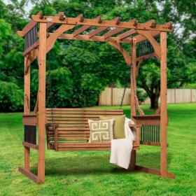 pergola swing backyard outdoor cedar patio wooden discovery diy attached garden covered backyarddiscovery natural kits