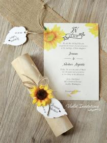 Rustic Sunflower Wedding Invitation Boxed by
