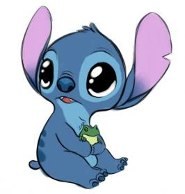 Baby stitch holding a baby frog!