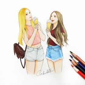 drawings friends drawing friend sketch ice cream bff easy forever girly