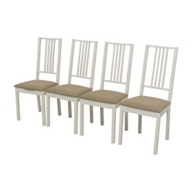 second hand ikea white with tan upholstered dining chairs