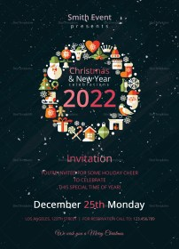 Modern Christmas Party Invitation Template in Adobe Photoshop