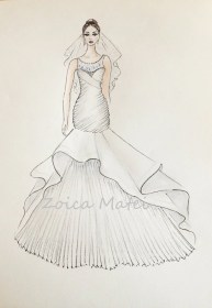 sketch bride veil drawing custom illustration gown bridal portrait dresses sketches zoia brides etsy paper customized anniversary drawings gift illustrations