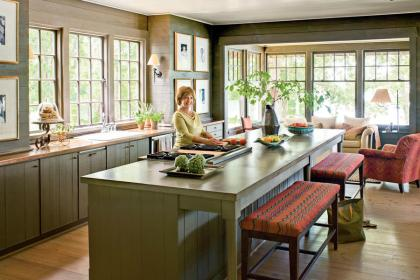 lake island rustic decorating decor kitchen colors georgia feel natural extra southern interior living southernliving styling cabinets walls naturally inspired