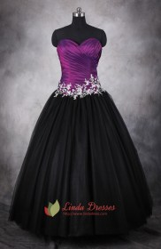 Purple And Black Dresses For Quinceaneras,Dark Purple And