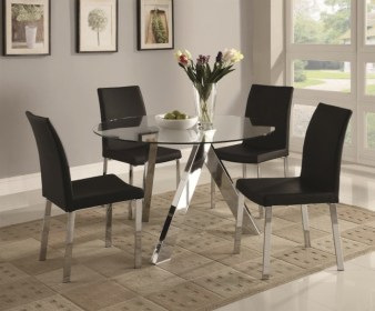 dining round glass sleek tables stylish table impression modern rug idea chairs leather beige four designs furniture moderndiningtables definitely added