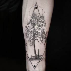arm tattoos tattoo tree geometric inner geometry surreal beautifully simple nature naturalism artist flower mymodernmet clock tatoo line combines create