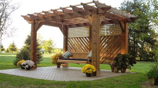 pergola swing outdoor ohio landscaping projects johnstown patio gazebo pergolas garden columbus beds roof flower wooden completed pavers kitchens living