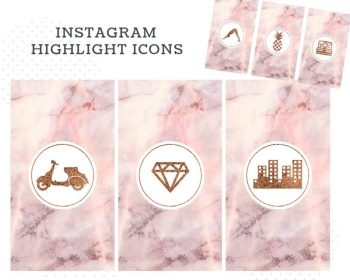 highlight instagram marble covers pink icons story templates pack bonus blogger