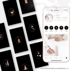 instagram marble covers gold highlight rose story highlights icons ig macarons mimosas social stories