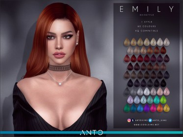 The Sims Resource: Emily Hairstyle by Anto ~ Sims 4 Hairs