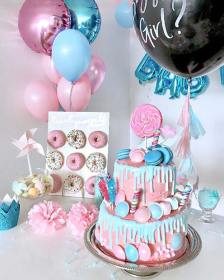 reveal gender party pink baby decorations decor idea cake adorable shower themes sweet sweets parties crazyforus stayglam decorating source balloons