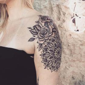 shoulder tattoos tattoo floral arm flowers sleeve designs females latin kings most drawing source