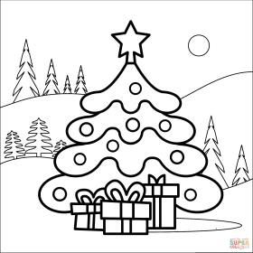 coloring tree christmas pages printable drawing supercoloring colorings books paper under categories