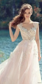 dresses blush bridal papilio romantic cap sleeves colored gowns skirt royal tulle bodice embellished train neck low line open inspirasi