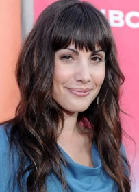 Carly Pope Long Wavy Hairstyles with Blunt Bangs PoPular