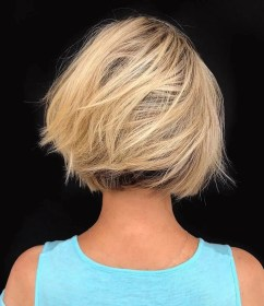 bob short thick hair low hairstyles maintenance cuts haircuts wispy length chin blonde easy honey pophaircuts