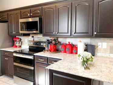cabinets kitchen dark brown painted espresso paint painting oak stained cabinet chocolate kitchens modern marty milk interactions reader way bathroom