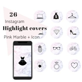 instagram story marble pink highlight ig covers highlights icons grow business