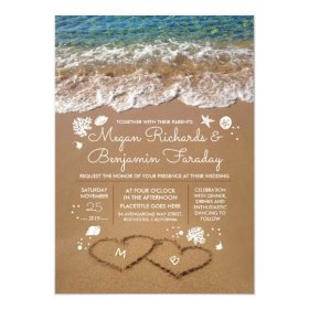 wedding beach invitation sand summer hearts card invitations zazzle heart starfish announcements weddings front engagement seaside certificates sold