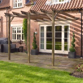 pergola lean wooden garden pergolas structure patio posts wood outdoor timber 6m rustic rutland structures dcor shade furniture construction brown