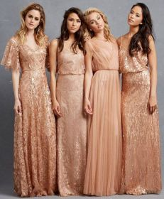 copper dresses bridesmaids teal wear bridesmaid colored coloured gowns orange gold rose colors ribbon gown fall peach different sleeves weddings