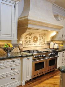 hood kitchen range provincial french carved kitchens stove stone corner hand decor traditional island exterior holmby table