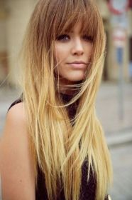 bangs pelo mechas californianas largo con cortes flequillo fringe blonde hair long ombre haircut hairstyles balayage blunt thoughts california suit