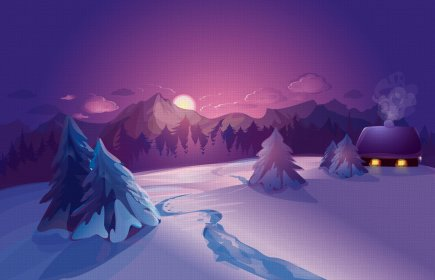 vector, Graphics, Sunrises, And, Sunsets, Scenery, Winter