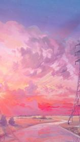iphone pink sunset aesthetic anime illustration wallpapers chebynkin arseniy backgrounds background scenery cloud landscape artsy