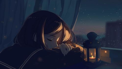 anime wallpapers tired falling asleep cave