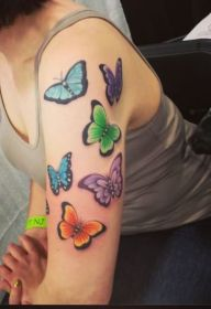 butterfly tattoo tattoos sleeve flowers half flower butterflies designs arm moth sleeves colored left girly shoulder fresh hand tatoo pinned