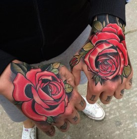 hand tattoo rose double tattoos roses webb matt
