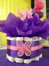 shower butterfly purple pink themed centerpieces centerpiece decorations diaper cake table theme themes decorating lavender tabledecoratingideas diapers adorable accented gorgeous