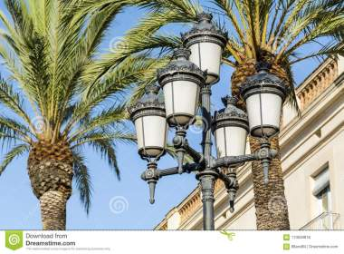 Street Vintage Lamps In Barcelona Stock Photo Image of